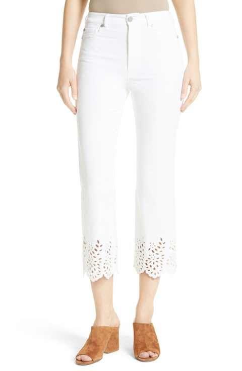 d1971df3 La Vie Rebecca Taylor Eyelet Hem Crop Jeans (Sea Salt)   The ...