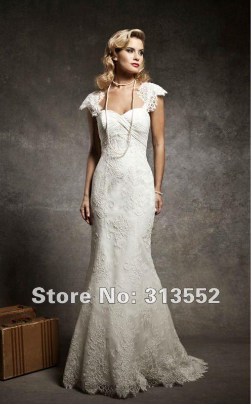 Vintage 1920s Inspired Cap Sleeve Mermaid Lace Wedding Dress By Justin Alexander US 25300