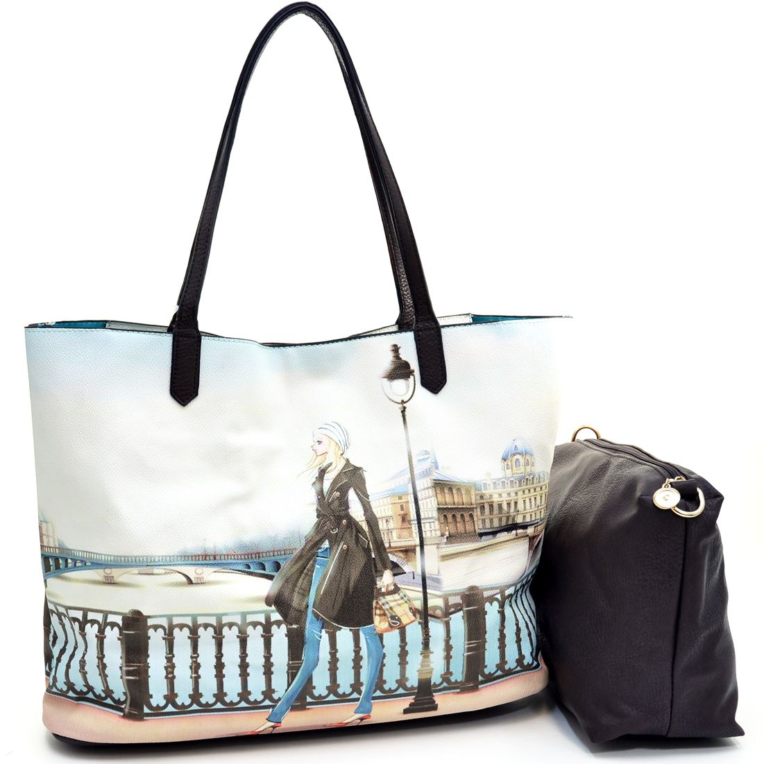Item# Item Number:TP-61258B This large tote bag is a fun accessory to have when you are traveling. The art design on the front provides a nice escape to the feeling of being on vacation, with its natural and realistic colors. Included inside is a cosmetic bag and bonus shoulder strap to easily ...
