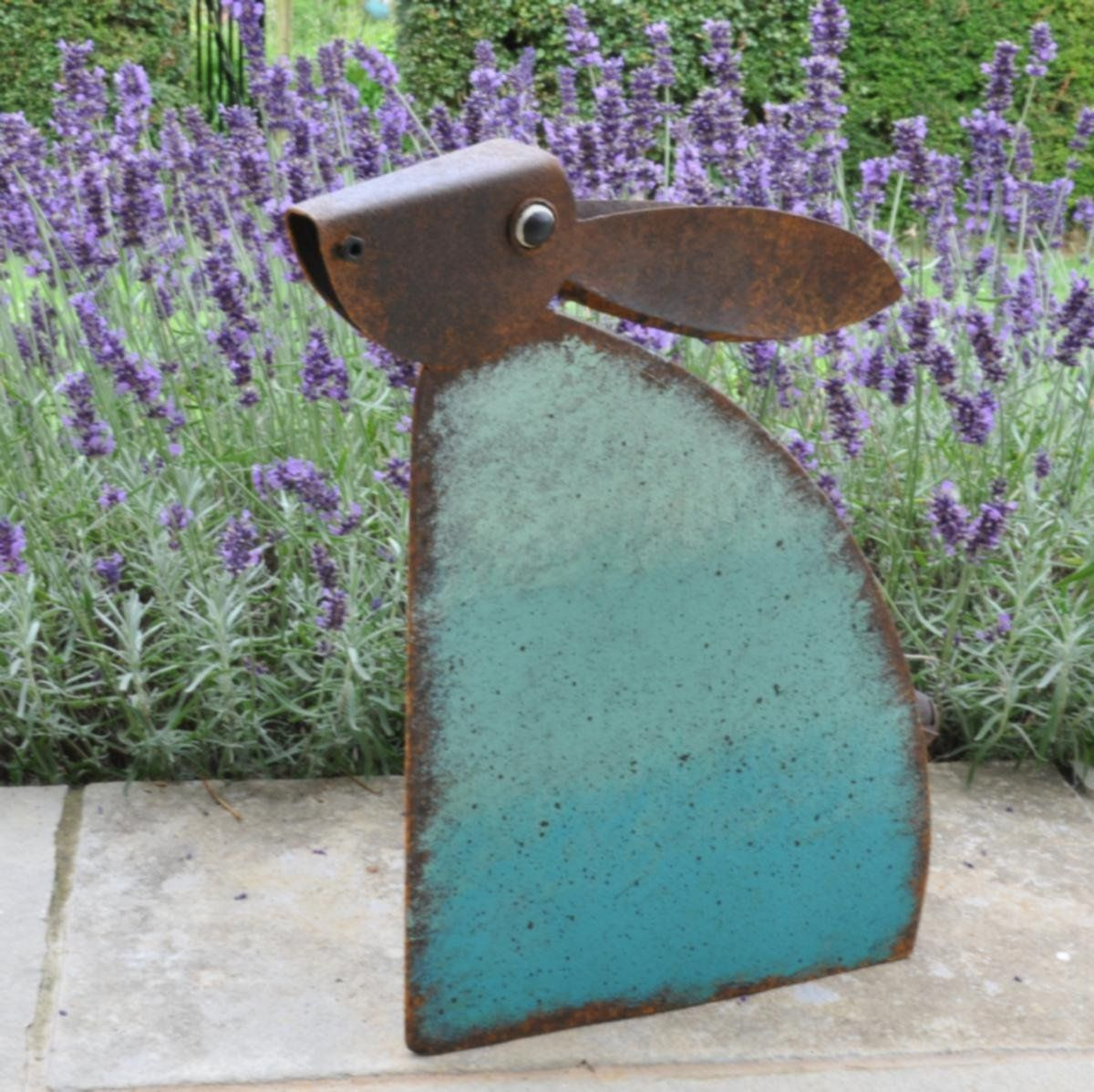 Charming Large Metal Rustic Rabbit Hare Garden Ornament Sculpture