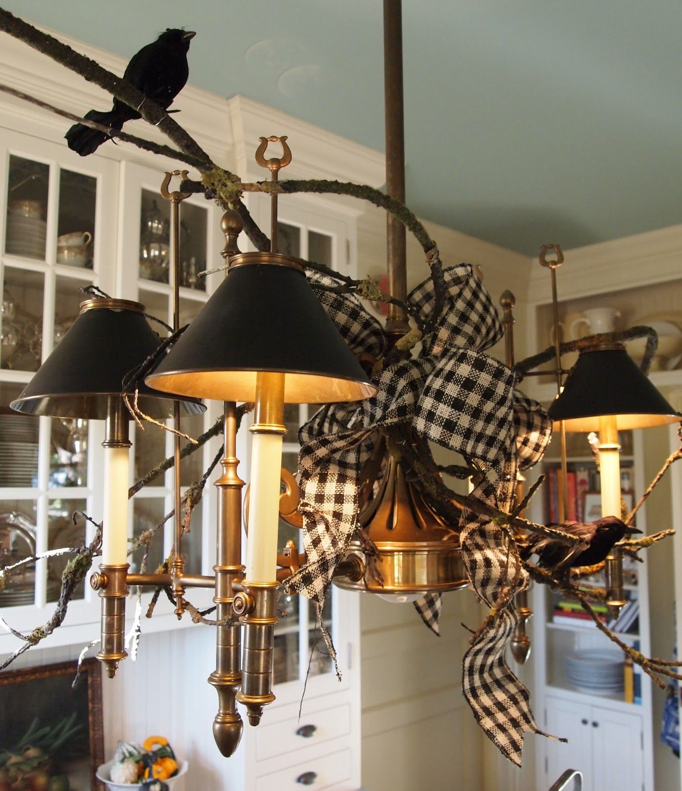 Black and white check ribbon, branches, and blackbirdsreally like - Decorating For Halloween