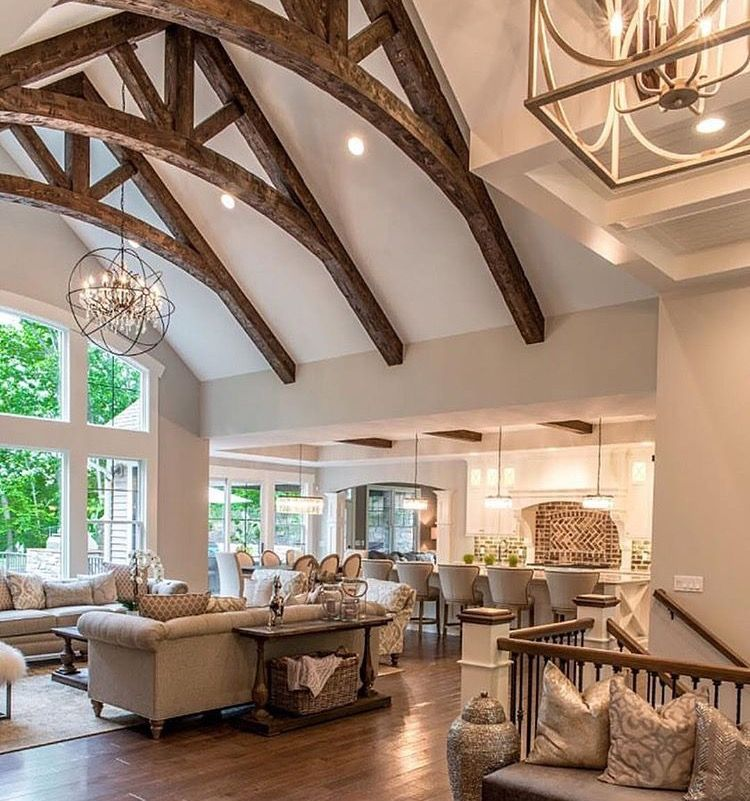 Exposed Beams Arched Window Big Kitchen Farm House Living Room Vaulted Ceiling Living Room French Country Living Room