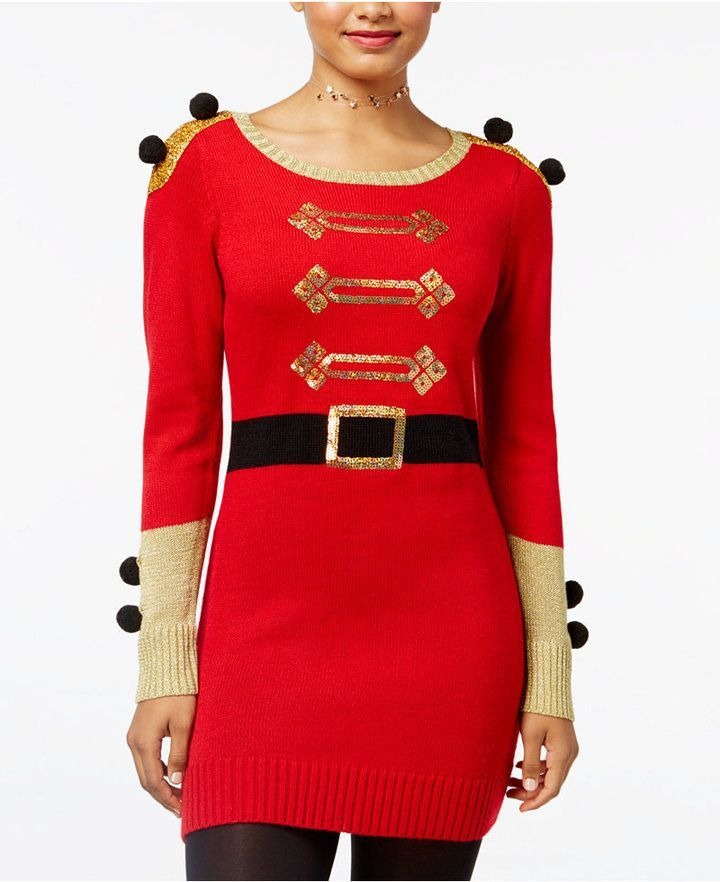 4f43a2821 Hooked Up by Iot Juniors' Nutcracker Holiday Sweater Dress ...