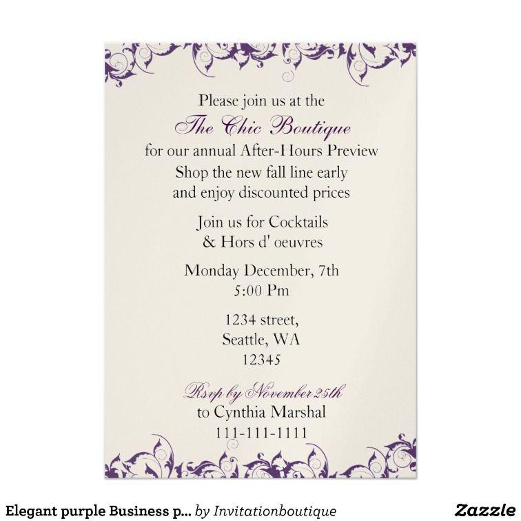 Elegant purple Business party Invitation   Winter Reception 2016 ...