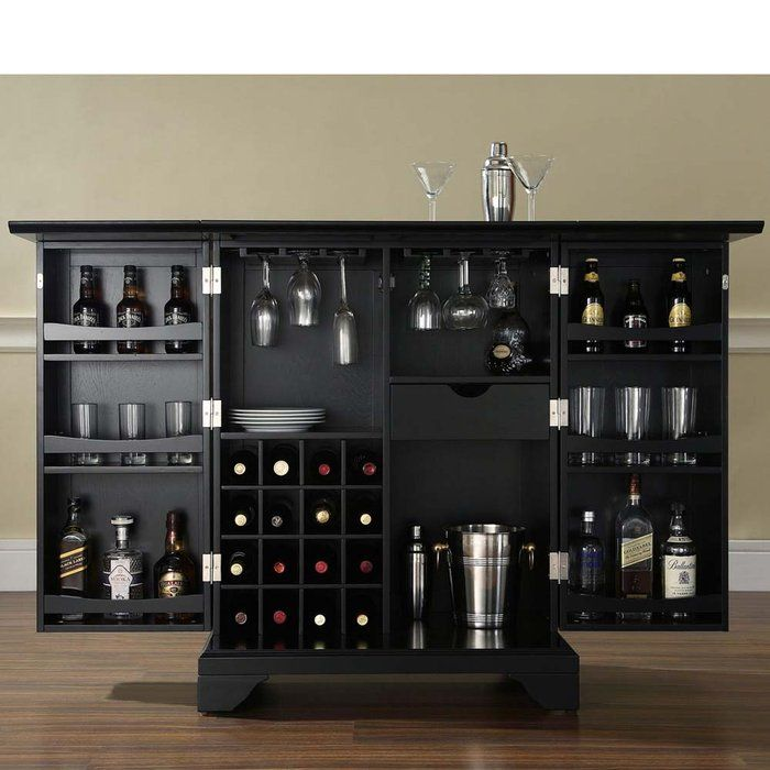 brookstone lafayette expandable home bar liquor cabinet