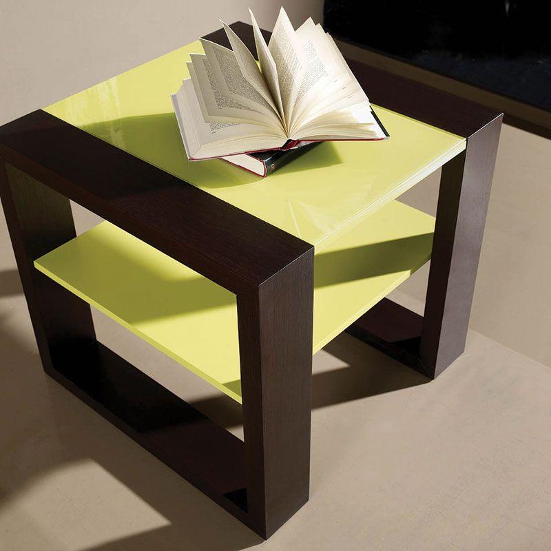 Table D Appoint Bois Wenge Et Vert Anis Moderne Mamora Meuble Rangement Table D Appoint Table D Appoint Design