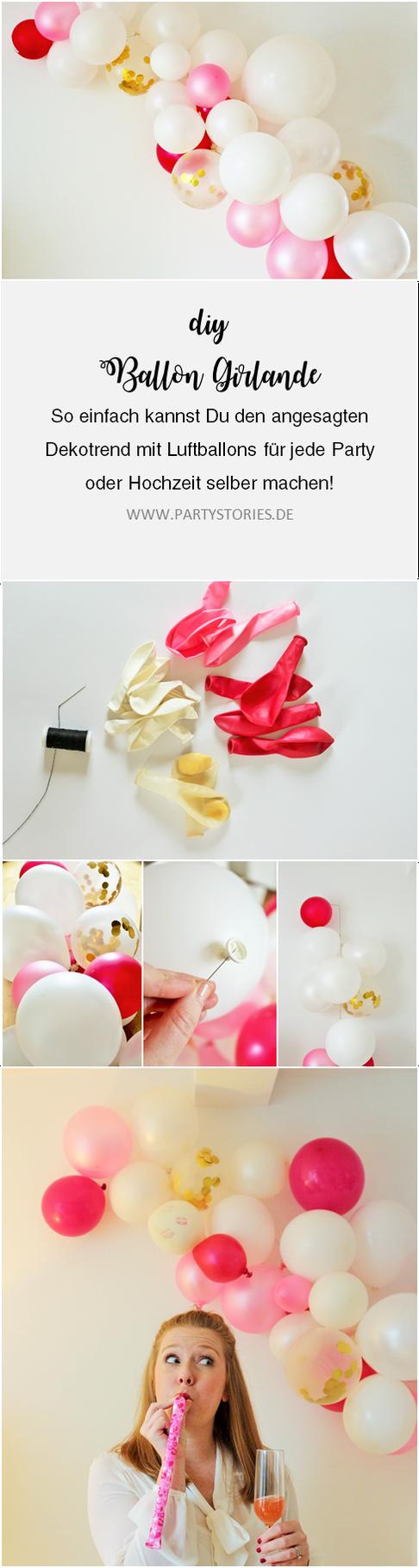 anleitung moderne luftballon girlande einfach selber machen party ideas decorations. Black Bedroom Furniture Sets. Home Design Ideas
