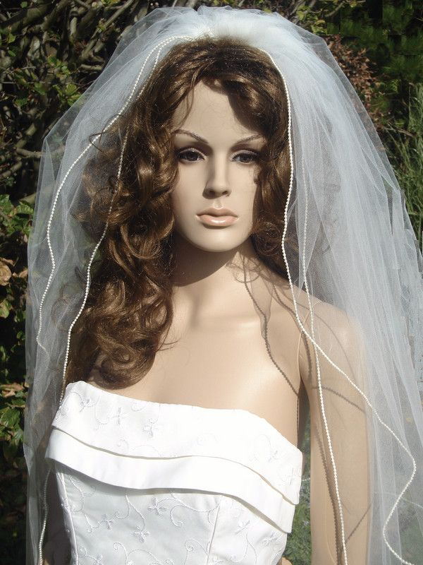 2 Tier Ivory Chapel Length Wedding Veil - Please Click on the image to view next