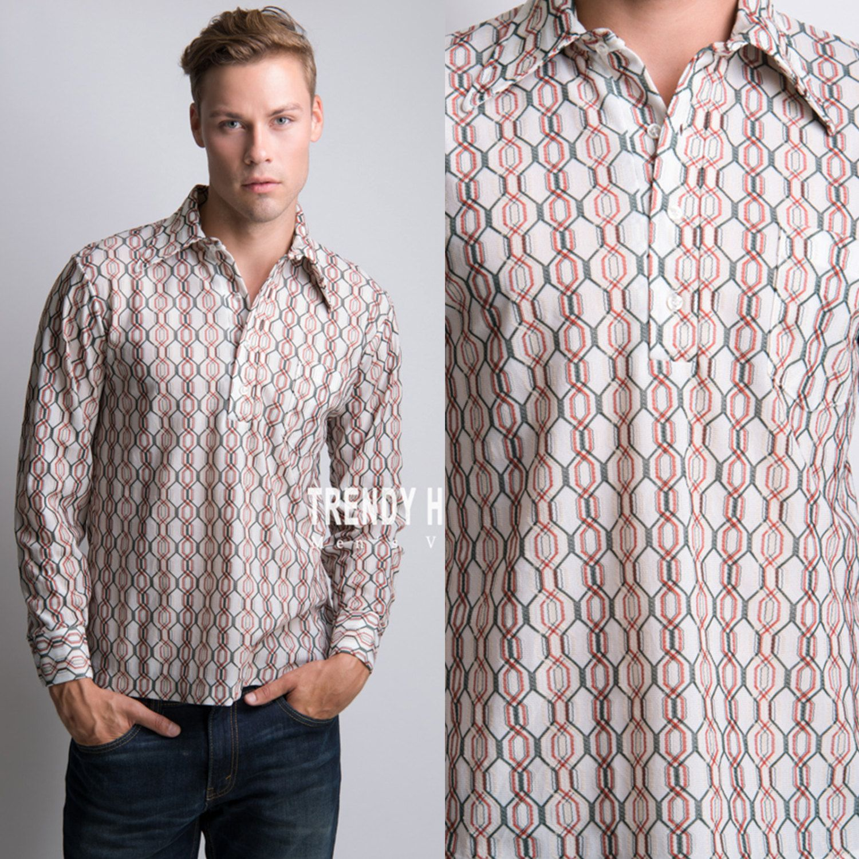 70s Mens Geometric Shirt lPzYHYnxME