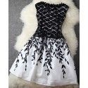 Black Patchwork Embroidery Lace Leaves Print Double-deck Sleeveless Casual Fashion Mini Dress