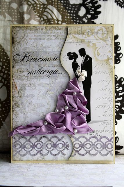 Gorgeous Wedding Card With Ribbon Trim As The Bride S Gown
