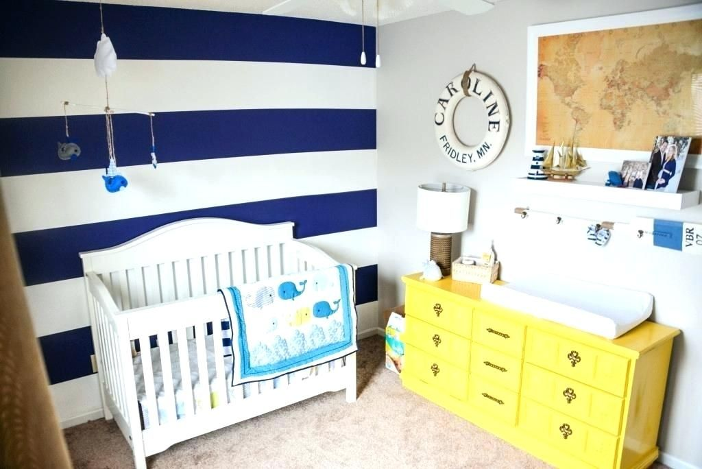 Navy Blue Accent Wall Nursery Nautical Baby Room 7 Navy Blue And