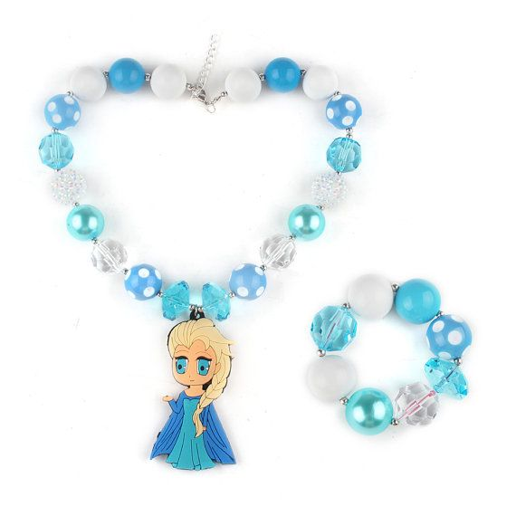 Free Shipping 1 Set Beads Necklace And Bracelet Set With Elsa Pendant For Kids