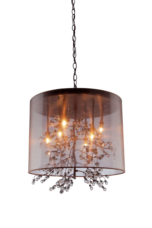 Artcraft Eight Light Chandelier Crystal Drum Shade Bronze Tree Clear Glass