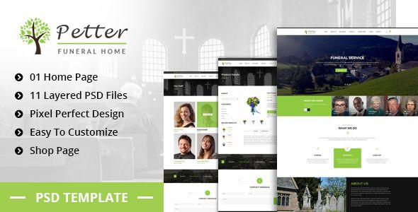 Petter - Funeral Service PSD Template | Code Script | Templates, Psd