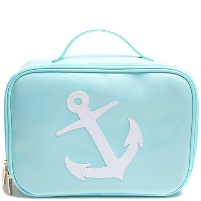 "Light Blue ""Anne"" Cosmetic Case with White Anchor - LoloBag"