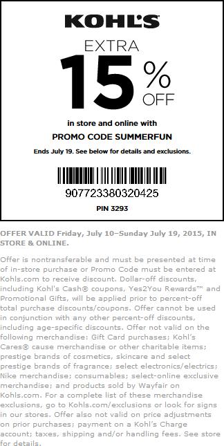 15 Off At Kohls Or Online Via Promo Code Summerfun Kohls Promo Codes Promo Codes Coding