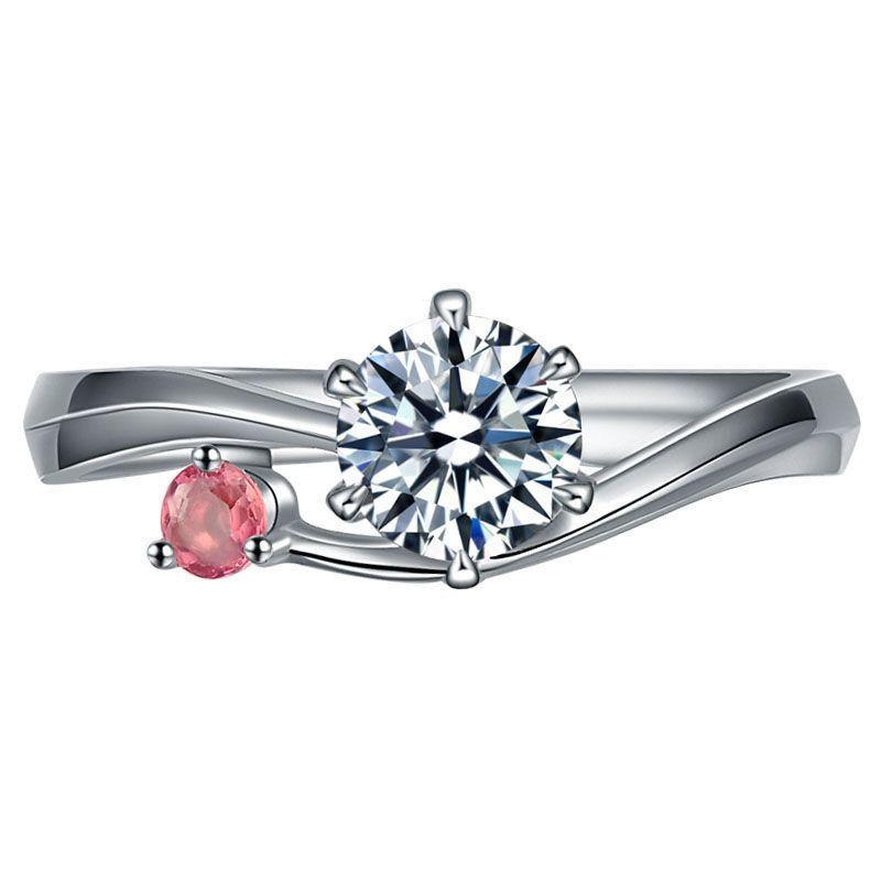 Danki 0.82ct CZ Diamond Engagement Ring Romantic Created Ruby ...