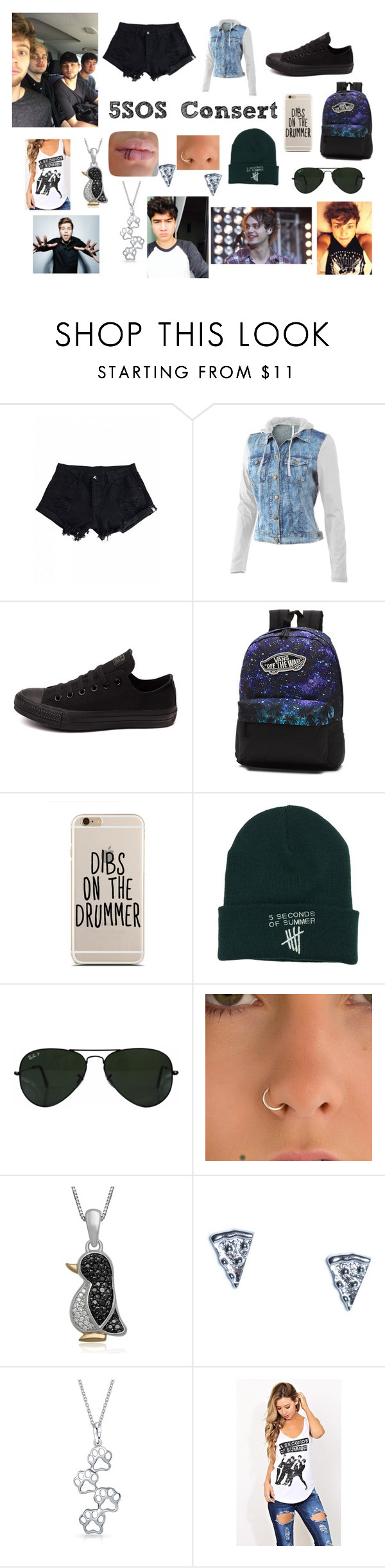 """""""Consert"""" by agitae on Polyvore featuring Mur Mur, Converse, Vans, Ray-Ban, Rock 'N Rose and Bling Jewelry"""