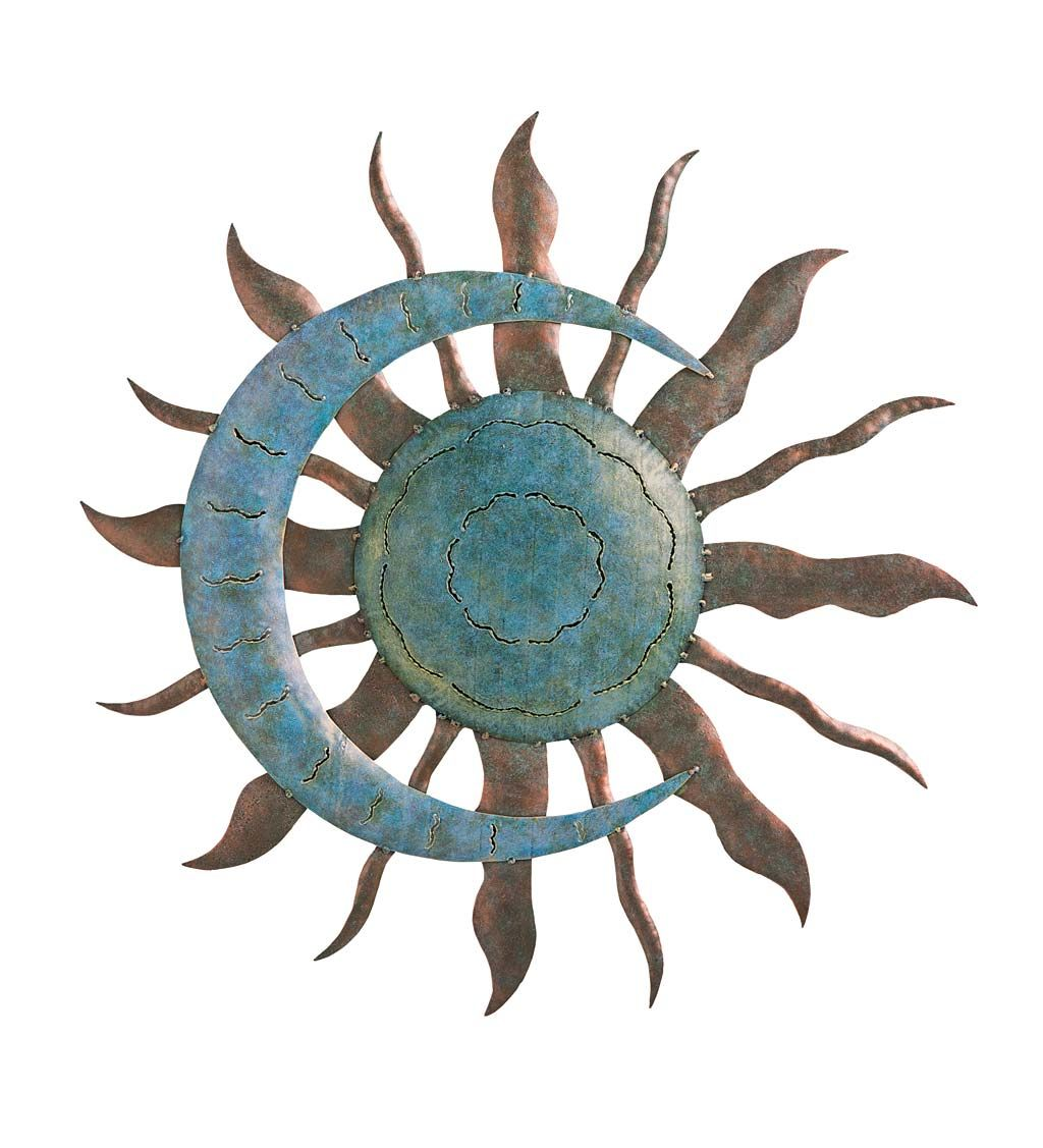 Add a celestial accent anywhere with our verdigris sun and moon wall