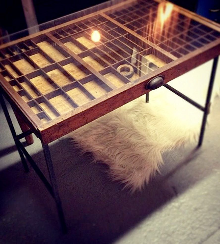 vintage printer's tray table | design lab, trays and labs