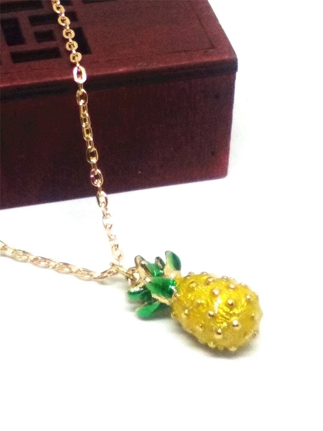 Vintage pineapple pendant long chain necklace cbytig