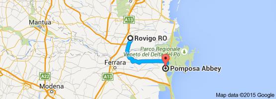 From Rovigo RO Italy To Pomposa Abbey 62 miles