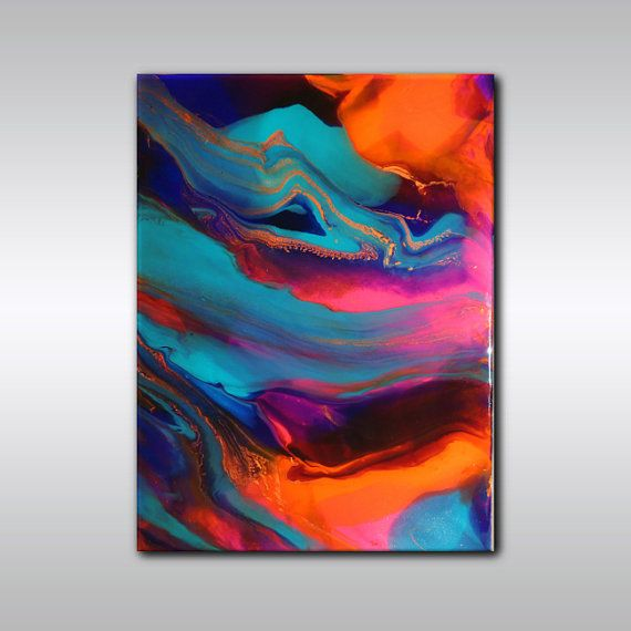 Resin Wall Art original abstract painting - multicoloured art - 18 inch x 24 inch
