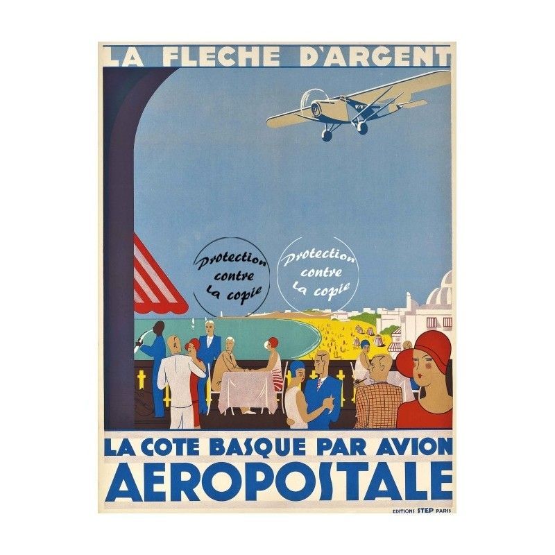 Vintage Poster Reprint Airlines Cote Basque Fleche D Argent