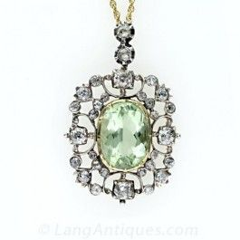 Georgian Antique Green Beryl and Diamond Pendant - Necklaces - Shop for Jewelry