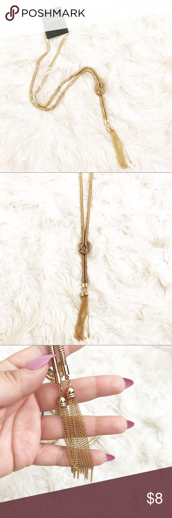 Tassel Necklace Long tassel necklace with knot Brand new