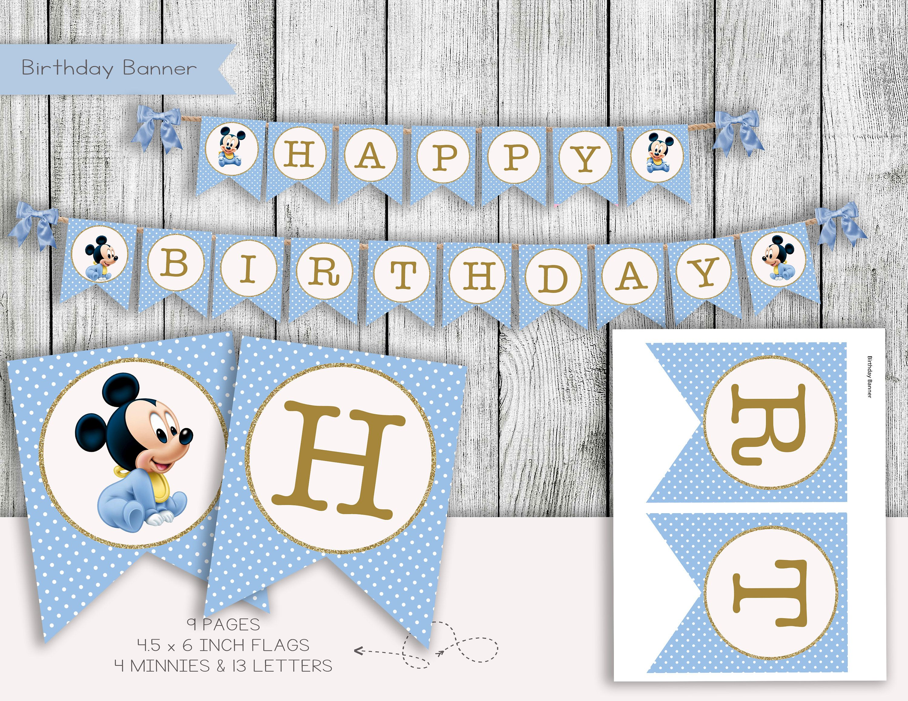 Mickey Mouse Banner Mickey Mouse Birthday Banner Mickey