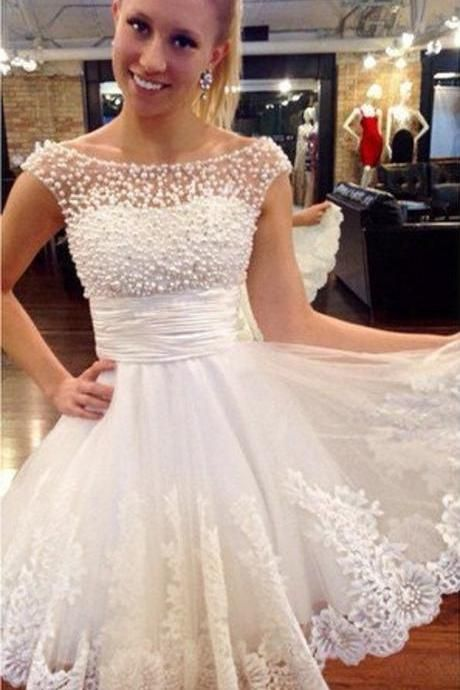 White Homecoming Dress Cap Sleeves Short Prom Dresses With Pearls