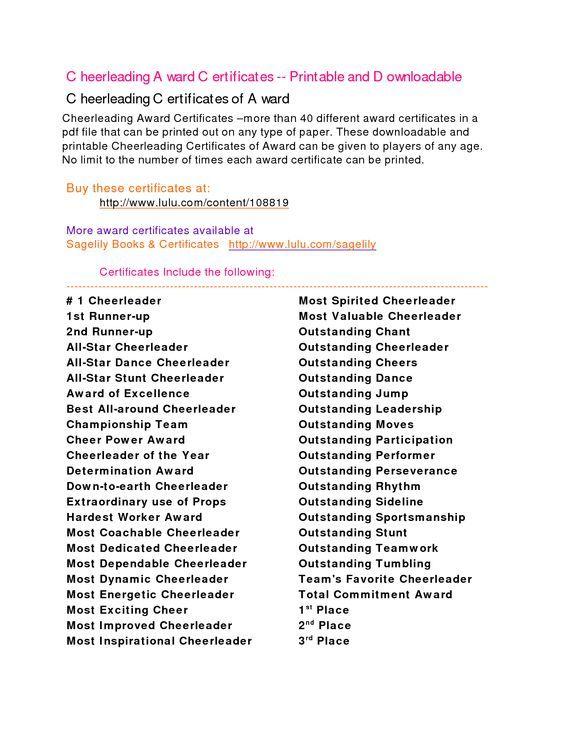 Cheerleading Awards Google Search Cheerleading Pinterest