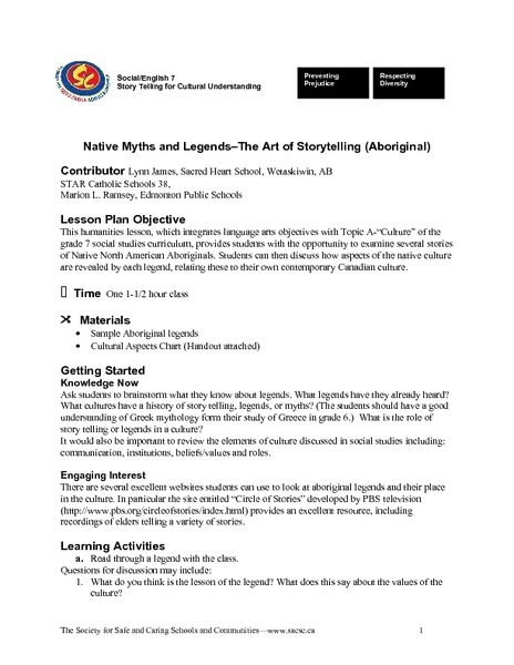 Native Myths and Legendsu2013The Art of Storytelling (Aboriginal - lesson plan objectives