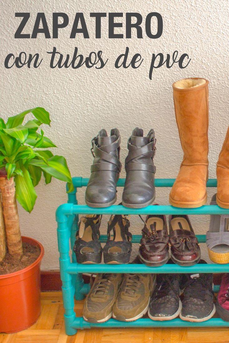 2d8a5758a7117 Zapatero con tubos de PVC ➜ Aprende a hacer un zapatero divertido y muy  práctico  )  DIY  Manualidades  Decoración  Handfie
