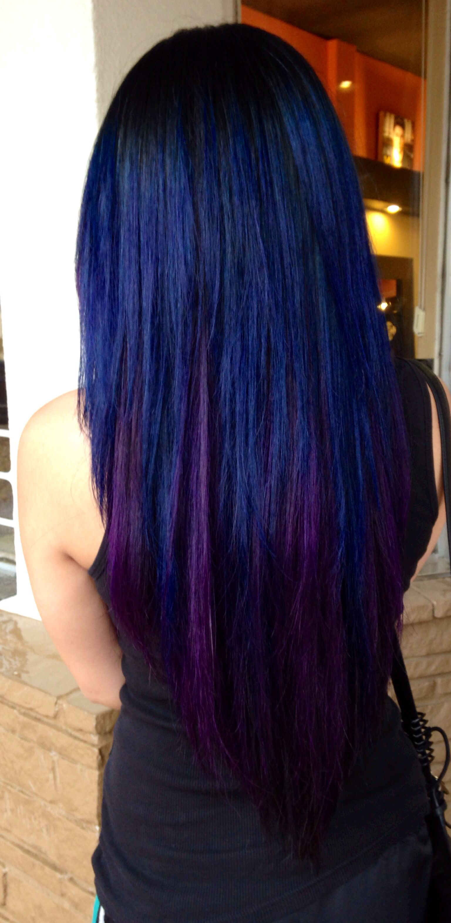 black blue and violet hair