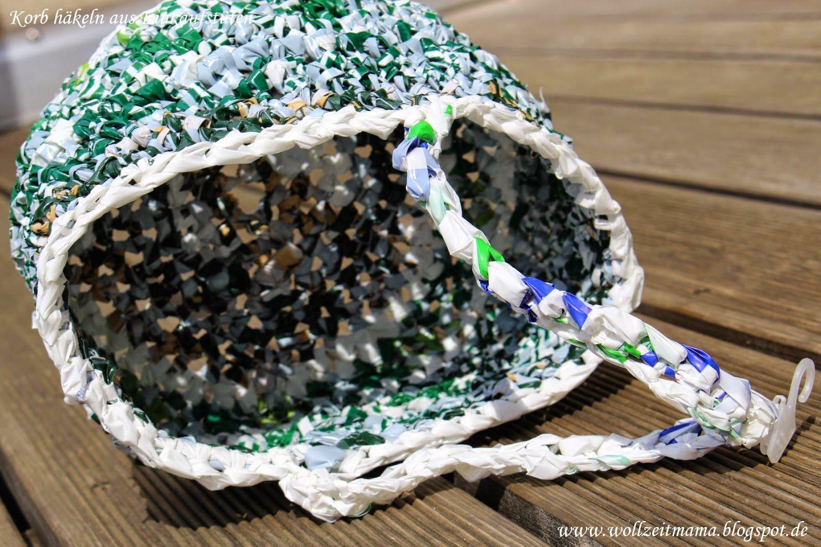 Korb Häkeln Aus Plastiktüten Kostenlose Anleitung Gehäkelt Von