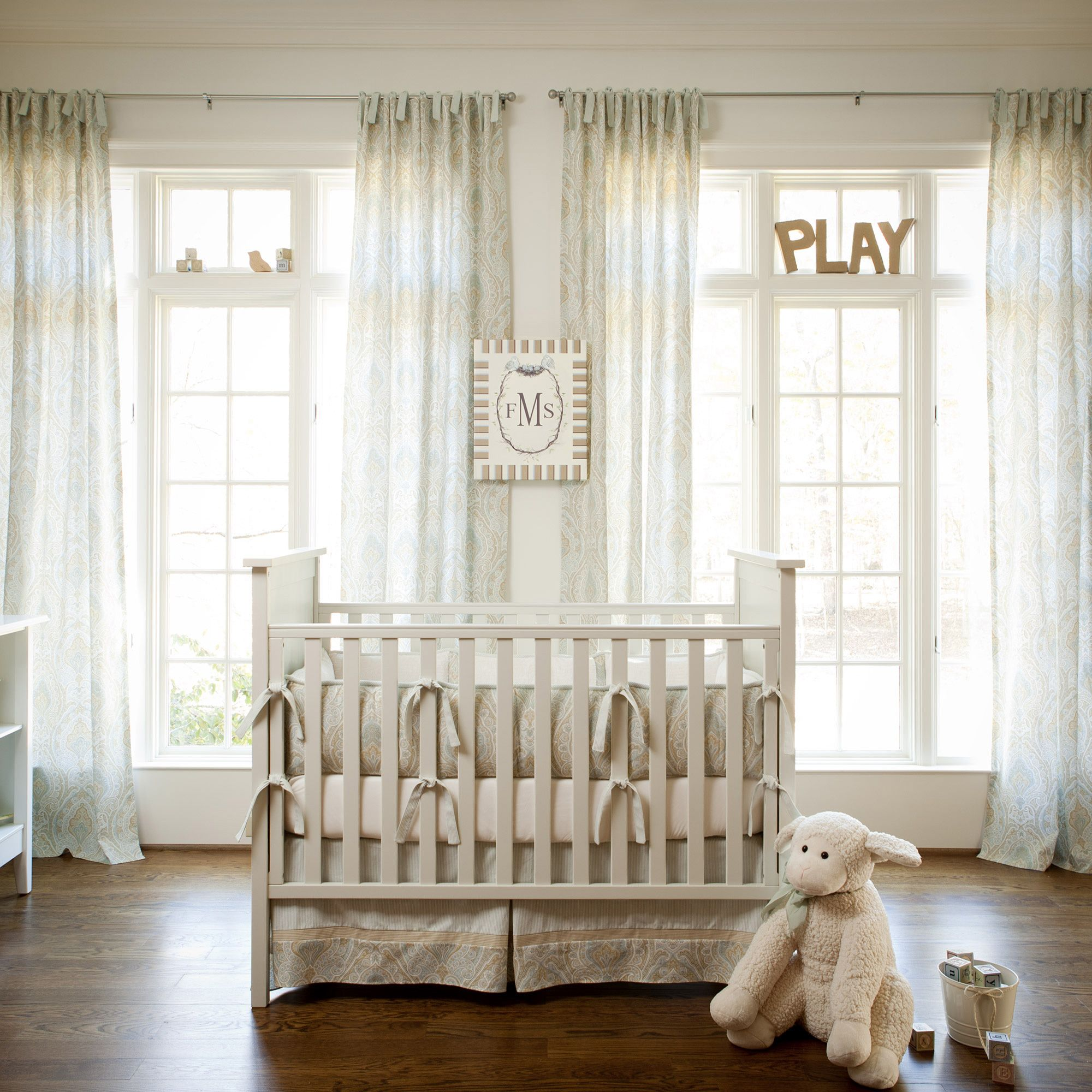 Blue and Taupe Paisley Crib Bedding | Neutral Baby Bedding ...
