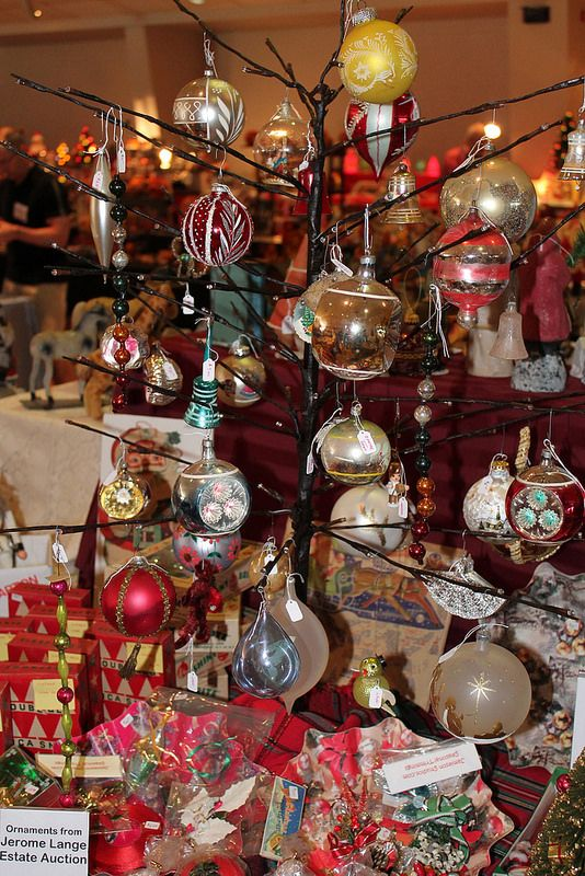 Vintage Christmas at the Midwest Holiday Antique Show, Celebrate365 booth  (Connie Porcher) - Midwest Holiday Antique Show A Collection Of Ornaments Pinterest