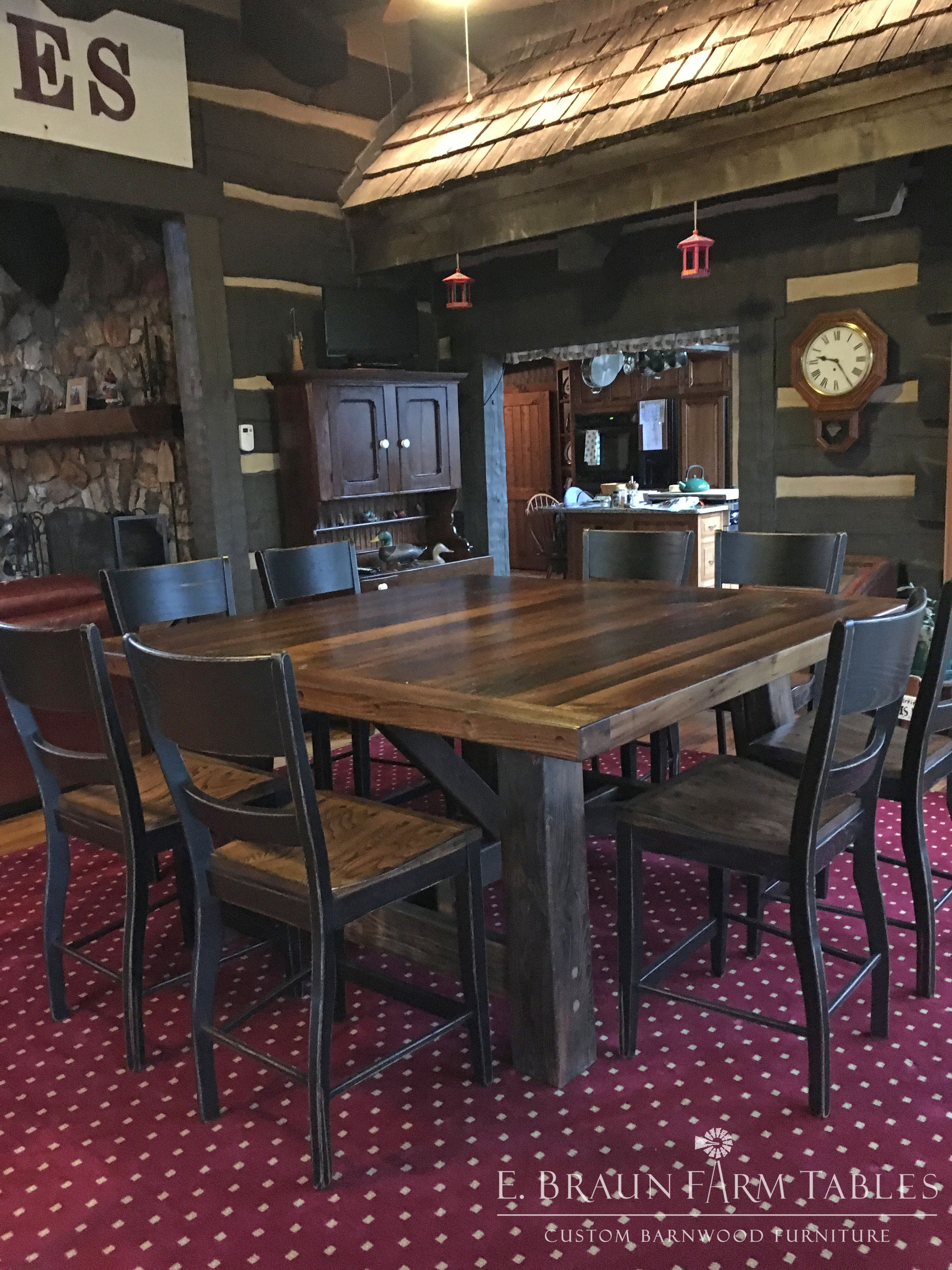 How About Adding A Rustic Table To Play Card Games And Have Drink Here Is Square Sawbuck Trestle With Thick Top Handcrafted From Reclaimed