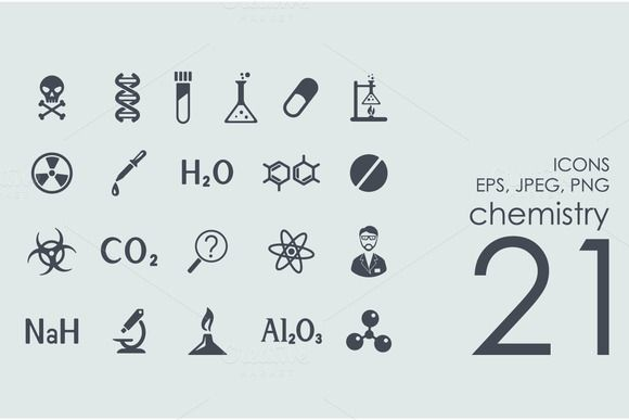 21 chemistry icons by Palau on @creativemarket