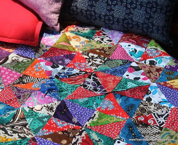 Patchwork Blanket Double Sided Bali Batik Patchwork Reversible Quilt Cotton Boho Blanket Single Twin Or Sofa Throw Patchwork Blanket Boho Blanket Quilts