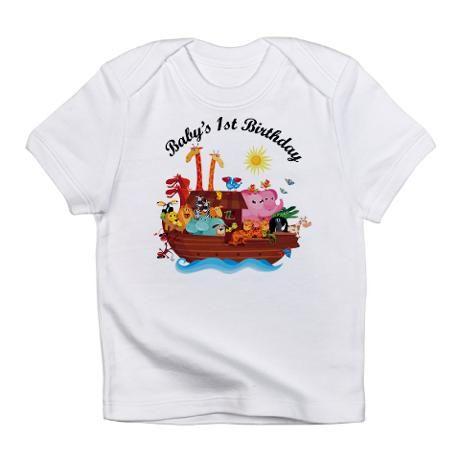 First Birthday Shirt Noahs Ark Theme White