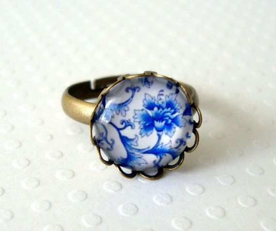 Blue and White Floral Glass Cabochon Ring with by lucindascharms, $12.00