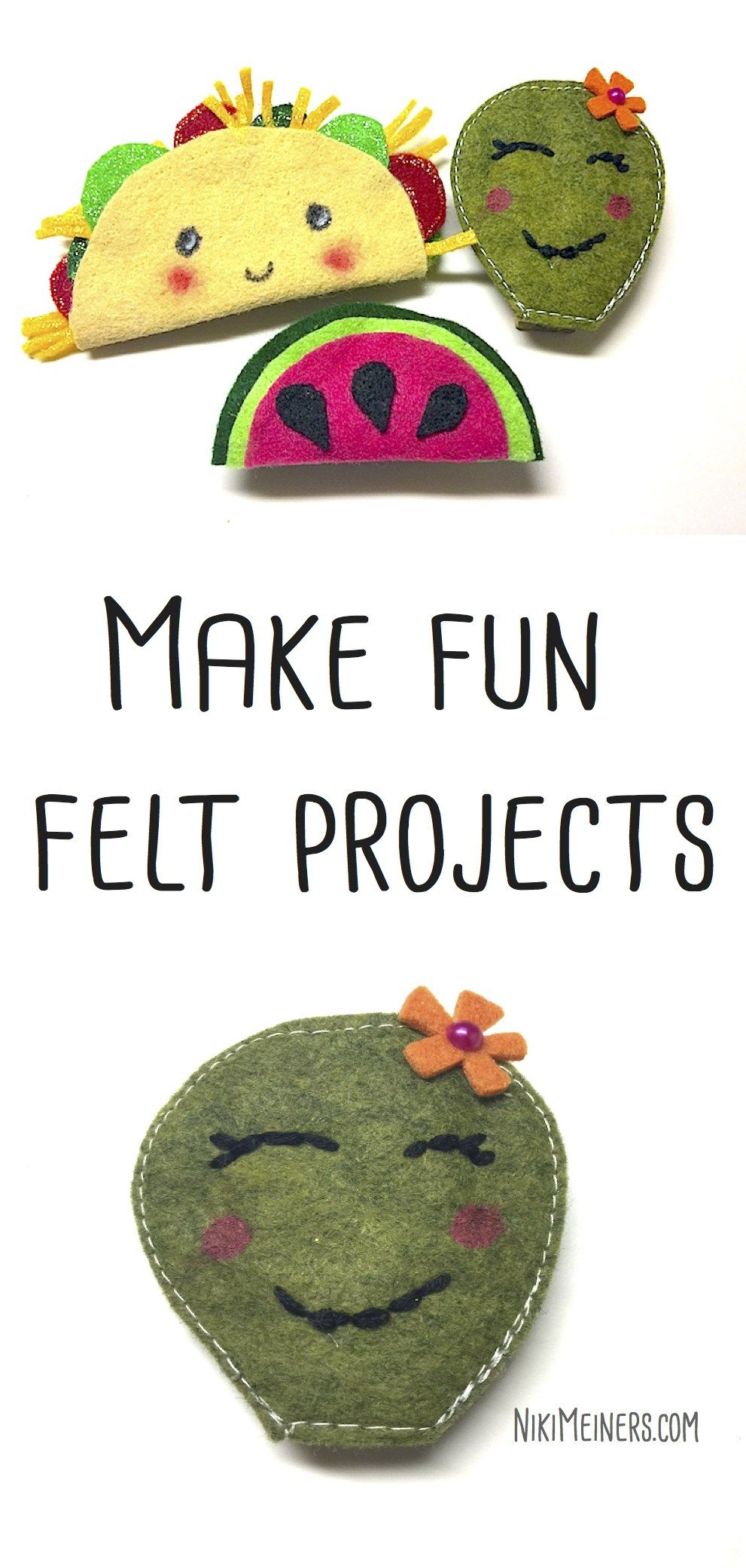 Felt projects that you can make in 15 minutes - a quick craft idea for kids  and teens. Turn into magnets, pins or clip all using felt as a base.