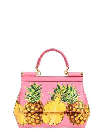 1a479c6c6102ed DOLCE & GABBANA Small Sicily Pineapples Leather Bag, Pink/Multi. # dolcegabbana #bags #shoulder bags #hand bags #leather #lace #lining #