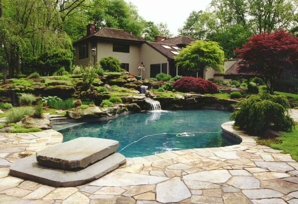 Water feature swimming pool in greenwich ct man made for Stone swimming pool