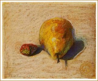 Wayne Thiebaud, Pear and Strawberry (1985)  pastel on paper
