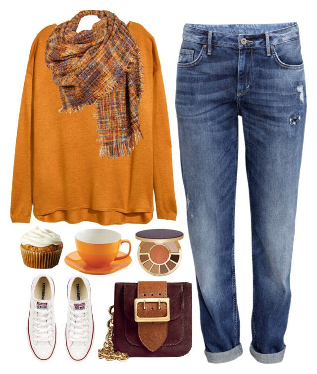 """""""I love you more than pumpkin spice latte"""" by celida-loves-pink ❤ liked on Polyvore featuring mode, H&M, Burberry, Converse, Black Rivet, tarte, orange, Minimalist, fall2015 et Halloween2015"""